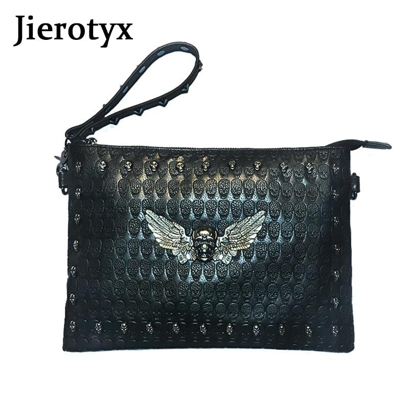 JIEROTYX Messenger Bag Envelope Bags Day Men Shopping Bags Thin Purse Black Angel Skeleton Men A4 Shoulder Bags Handbag Discount