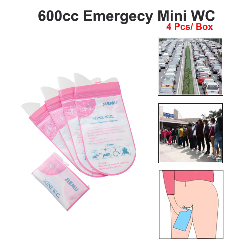 4Pcs/Box 600cc Men Women Portable Emergency Urine Bag Mobile Mini Toilet Travel Camping Car Disposable Urinal Storage First Aid