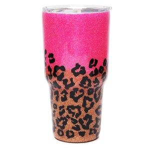 Brillantina hecha a mano, vaso epoxi de leopardo rosa, vaso de 30oz de brillo, taza de guepardo de acero inoxidable, regalo de viaje, porta agua DOM1172