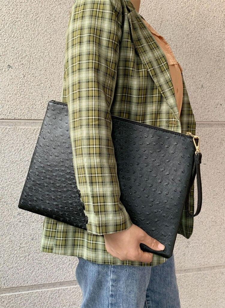 Nova chegada bolsa de couro de avestruz