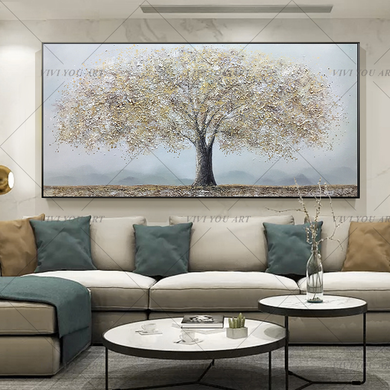 Silver Fortune Tree Hand Painted Oil Painting Thick Texture To The Living Room Dining Room Bedroom Wall Decoration Painting Painting Calligraphy Aliexpress
