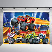 Photography Backgrounds Car-Machine Monsters Blaze Birthday-Party Decorations-Props Photo-Studio