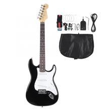 Es fr guitarra elétrica 39in, guitarra elétrica de madeira com 6 cordas para iniciantes