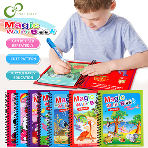 1Set Montessori Coloring Book Doodle & Magic Pen Painting Drawing Board For Kids Toys Magic Water Drawing Book Birthday Gift ZXH(China)
