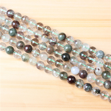 Green Ghost 4/6/8/10/12mm Natural Gem Stone Polished Smooth Round Beads For Jewelry Making DIY Bracelets