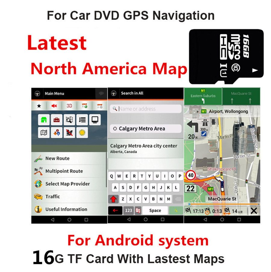 US $19.7 10% OFF|16GB Micro Map SD Card Lastest USA Canada Mexico map on