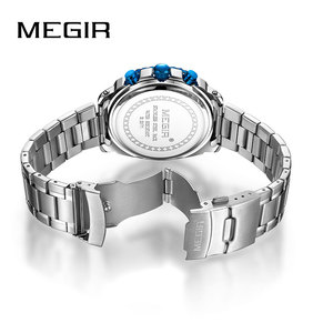 Image 3 - Megir 高品質メンズクロノグラフ腕時計のためのブルーステンレス鋼 Bracelete スポーツ腕時計ボーイのストップウォッチ