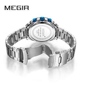 Image 3 - Megir באיכות גבוהה Mens הכרונוגרף שעונים לגברים גברים כחול נירוסטה Bracelete ספורט שעוני יד ילד של סטופר