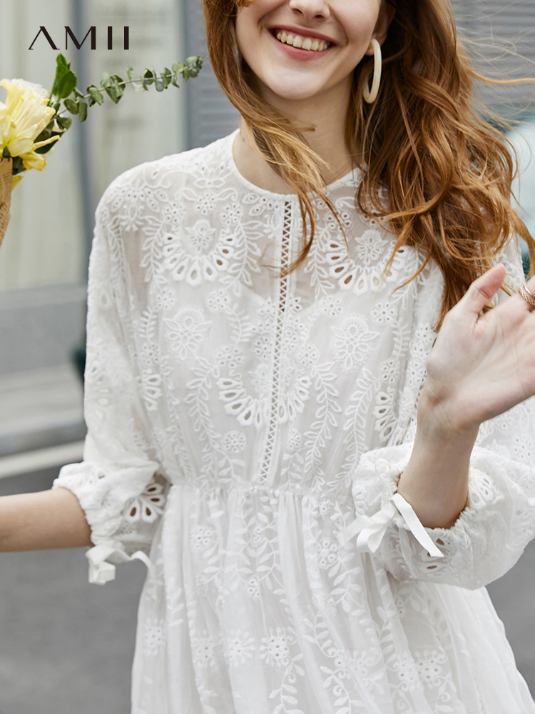 Amii Minimalist Chiffon Dresses Spring Women Casual Solid Loose Lace Patchwork Round Neck Elegant Female Mid Long Dress 11940162