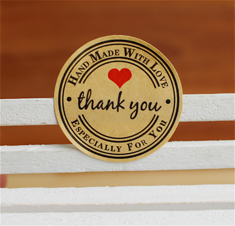 48pcs Handmade Wtih Love Red Heart Thank You Round Scrapbooking Paper Labels Seal Sticker DIY Gift Sticker