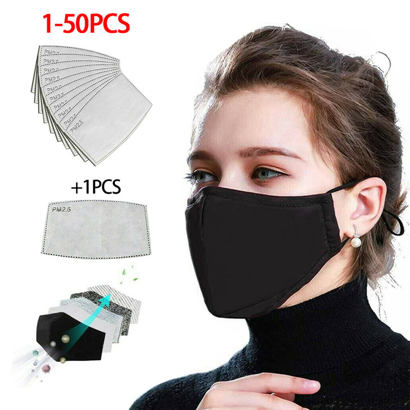 Cotton PM2.5 Black Mouth Mask 마스크 Anti-dust Mask Activated Carbon Filter Windproof Mouth-muffle Bacteria Proof Flu Face Masks