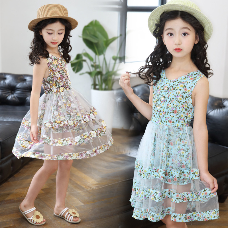 2018 New Style Children Shirt 5-6-8-10-<font><b>Year</b></font>-<font><b>Old</b></font> <font><b>Girls</b></font> <font><b>Dress</b></font> <font><b>Summer</b></font> Childrenswear <font><b>12</b></font> Baby <font><b>Girls</b></font> Dance Floral <font><b>Dress</b></font> image