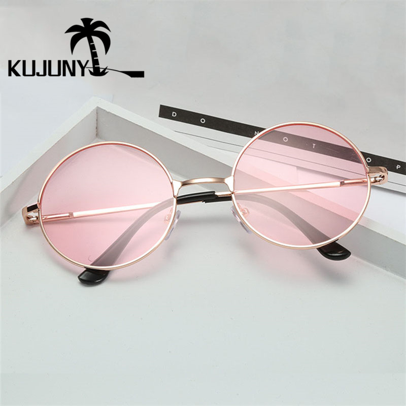 KUJUNY Women Round Sunglasses Metal Frame Sun Glasses Fashion Prince Mirror Eyewears John Lennon Classic Retro Sunglass