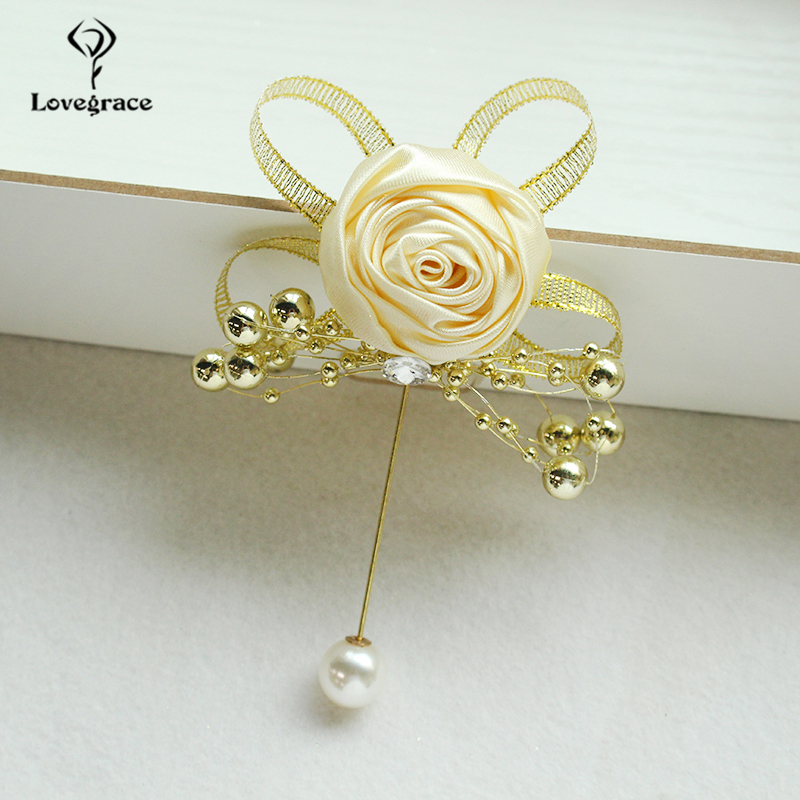 Silk Rose Brooch Women Wedding Corsage Flowers Pearl Decor Groom Boutonniere Buttonhole Wedding Planner Marriage Corsage Flowers