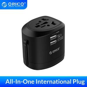Image 1 - ORICO uniwersalna międzynarodowa przejściówka elektryczna uniwersalny Adapter podróżny gniazdo Usb do ładowarki ładowarka ścienna do wtyczki EU US UK AU