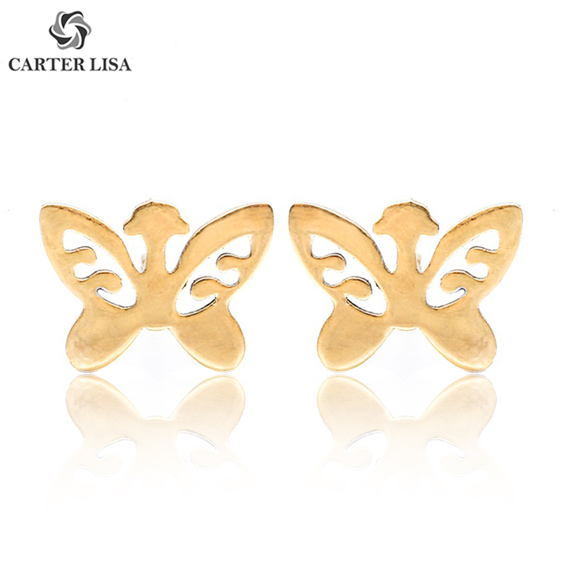 CARTER LISA New Arrival Gold Small Dolphin Stud Earrings Tiny Lovely Alloy Earrings For Girl Birthday Party Jewelry Orecchini