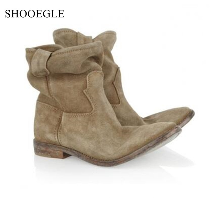 Women's Autumn Winter Boots Height Increasing Vintage Shoes Woman Slip On Pointed Toe Short Boats Wedge Motorcycle Boots Female