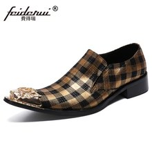 Big Szie 37-46 Metal Toe Slip on Man Wedding Banquet Party Loafers Genuine Leather Handmade Men's Plaid Prom Casual Shoes SL770(China)