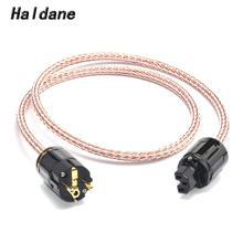 цена на Haldane High Quality 7NOCC Hifi TC Audiophile European AC Power Cord Cable Hi-End Schuko EUR US EU Gold plated Power Plug