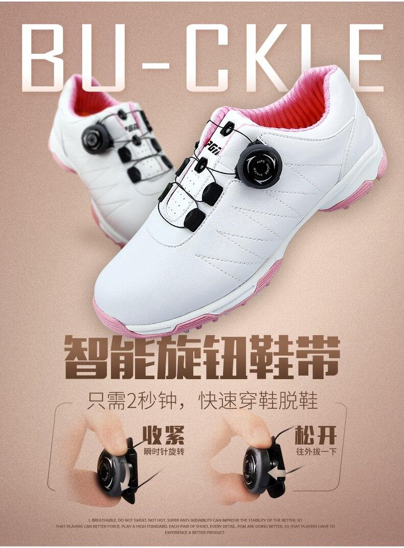 Sapatos de golfe pgm botões fivela sapatos