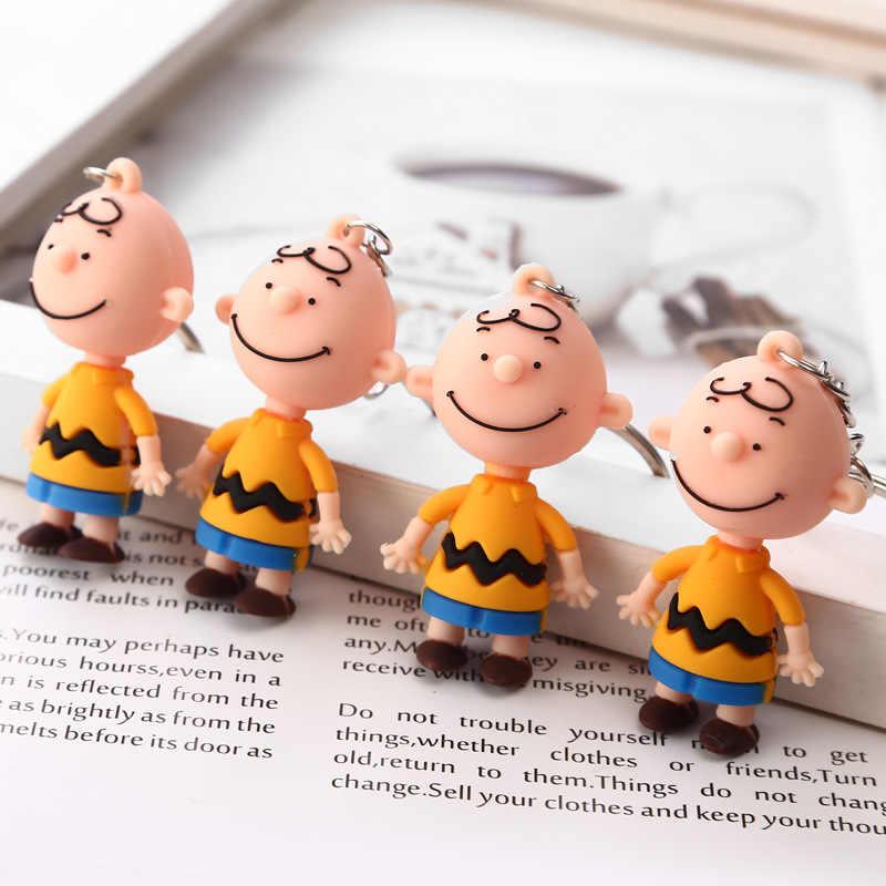 INS Charlie Brown Corrente Chave Bonito Dos Desenhos Animados Para Senhoras de moda Criativa Saco Encantos Acessórios Do Carro Anime Chaveiro Presentes do Namorado