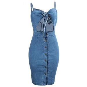 Женское джинсовое платье с вырезами, узлом и высокой талией, укороченное облегающее летнее платье на пуговицах, Сексуальные вечерние плать...