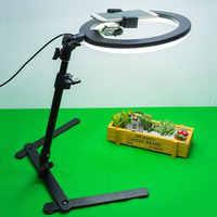 Anillo de luz LED lámpara anular estudio fotografía foto relleno anillo de luz con trípode de soporte de teléfono para iphone teléfono maquillaje fotografía