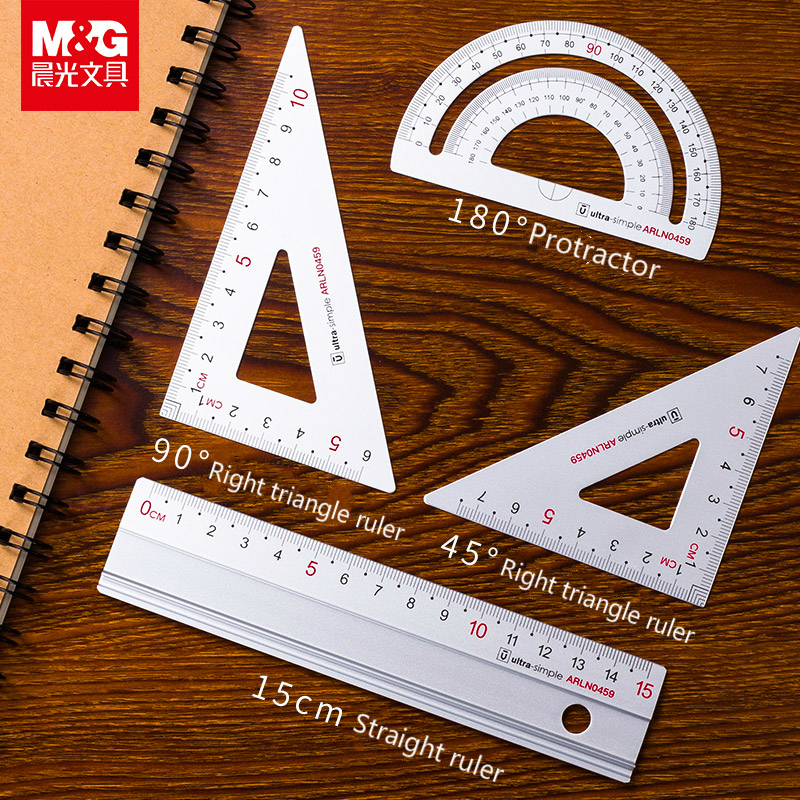 4pcs/set Aluminum Alloy Ruler Set Student Stationery Ruler 15cm Triangular Ruler Measuring Goniometer Set Of Triangular Rule
