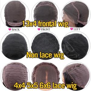 Image 4 - 13x4 레이스 전면 인간의 머리가 발 30 32 인치 스트레이트 4x4 폐쇄 인간의 머리가 발 레이스 정면 가발 pre는 아기 머리카락으로 뽑아