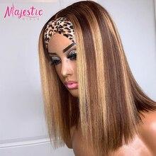 Resaltar Peluca de cabello humano brasileño recto pelucas de diadema hueso suave peluca recta con corte Bob de color marrón pelucas de cabello humano para las mujeres