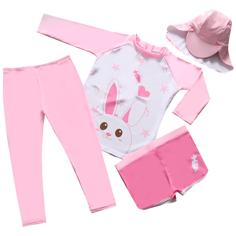 Children Long Sleeve Two-piece Swimsuits Girls Four-piece Set Quick-Dry Sun-resistant Snorkeling Surf Wear Big Boy GIRL'S Trouse
