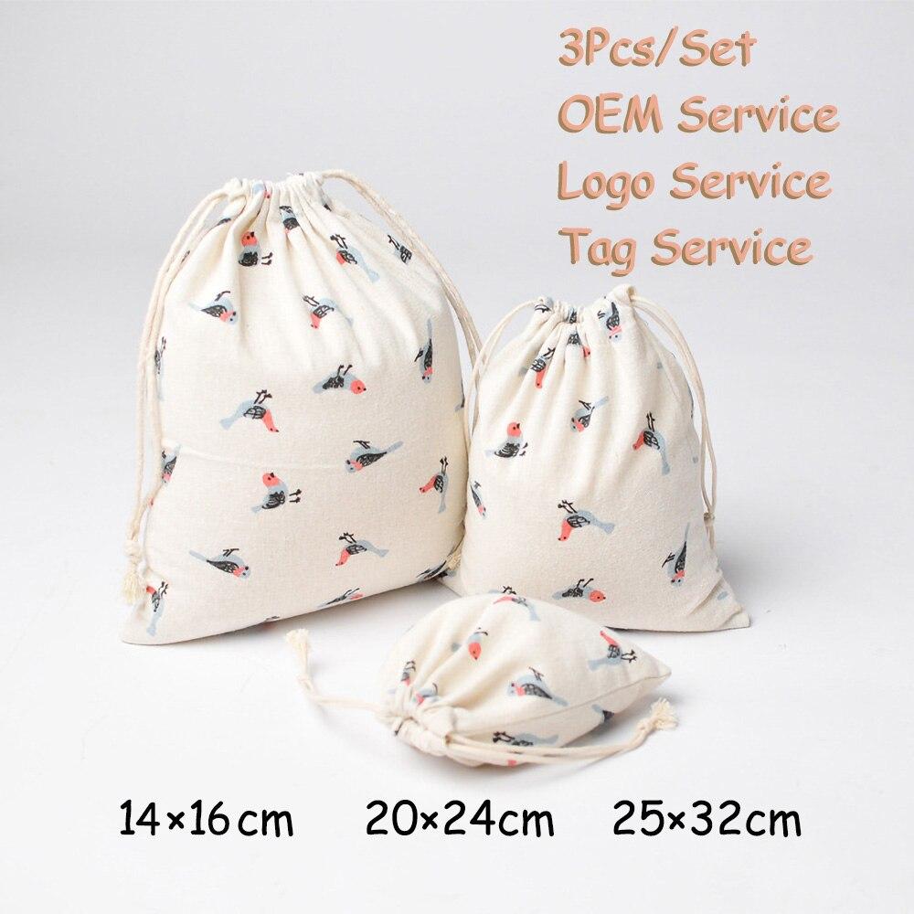 Plants Design Traveling Storage Bag 3Pcs/Set Organizer Bag Jewlery Pouch Perfume Aroma Fragrance Pouch Sweet-smelling Bag