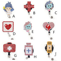 newest rhinestone medical nurse angle/pill/first aid case/retractable id badge holder reel for doctor/nurse gifts