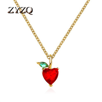 ZYZQ Summer Small Fresh Fruit Necklace Pendant Apple Necklace Simple Student Jewelry image