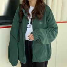 Harajuku streetwear oversized das mulheres zip-up hoodie feminino solto mais veludo camisola bolsos carta roupas casuais na moda topos
