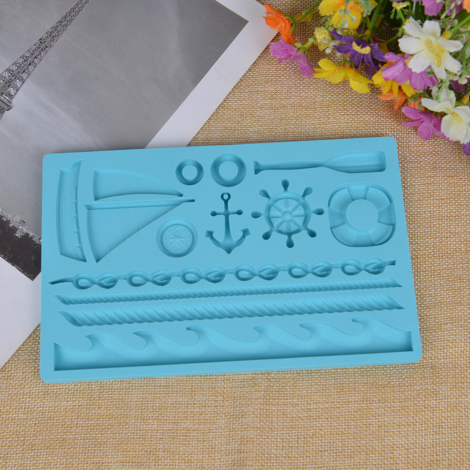 Blue Navy Ocean Style Theme Oars Helmsman Baking Silicone Sailboat Mold Cake Decorating Fondant Chocolate Ice Reusable Safe Tool