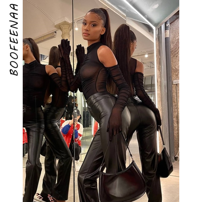 BOOFEENAA Black Mesh Sheer Bodysuit with Gloves Ruched Transparent Sexy Top Club Outfits Body Suits for Women C85 CZ13