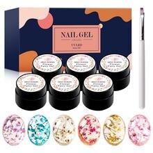 Ароматизированный сухой цветочный гель для ногтей набор натуральный высушенный цветок для ногтей Гель-лак полупрозрачный отмачиваемый УФ-...