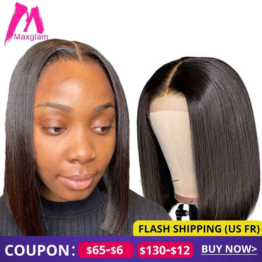 Lace Closure Wig 4x4 Bob Front Human Hair Wigs Short Frontal Brazilian For Black Women Natural Straight Hd Full Preplucked Remy