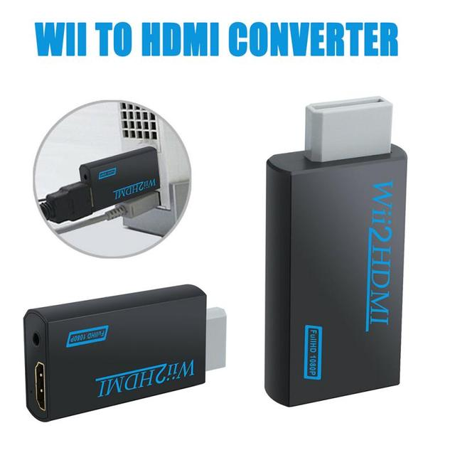 Wii to HDMI  HD Converter Adapter Audio Converter Stick 1080p Full HD TV Audio 3.5mm Black Adapter Cable For PC HDTV Display