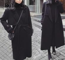 Rubilove Spring Autumn Winter New Womens Casual Wool Blend Trench Coat Oversize Long with belt Women Cashmere Ou