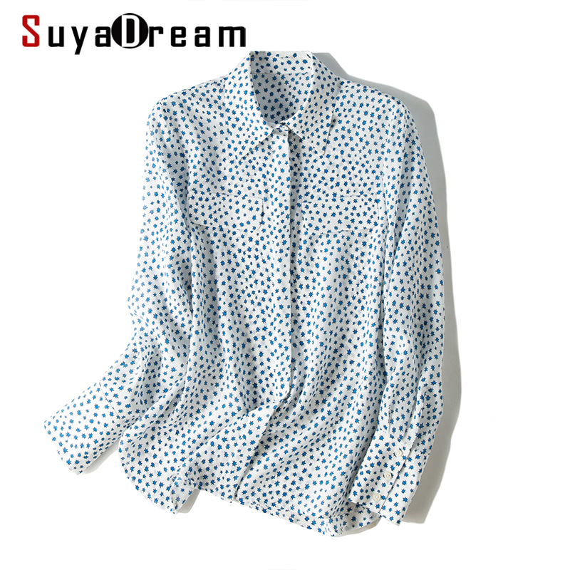 SuyaDream Women Silk Printed Blouse Long Sleeved Chest Pockets Turn Down Collar Button Office Blouses 2019 Autumn Shirts New