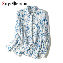 SuyaDream blusa de seda estampada de manga larga bolsillos en el pecho cuello vuelto Botón de oficina blusas 2019 otoño nuevas