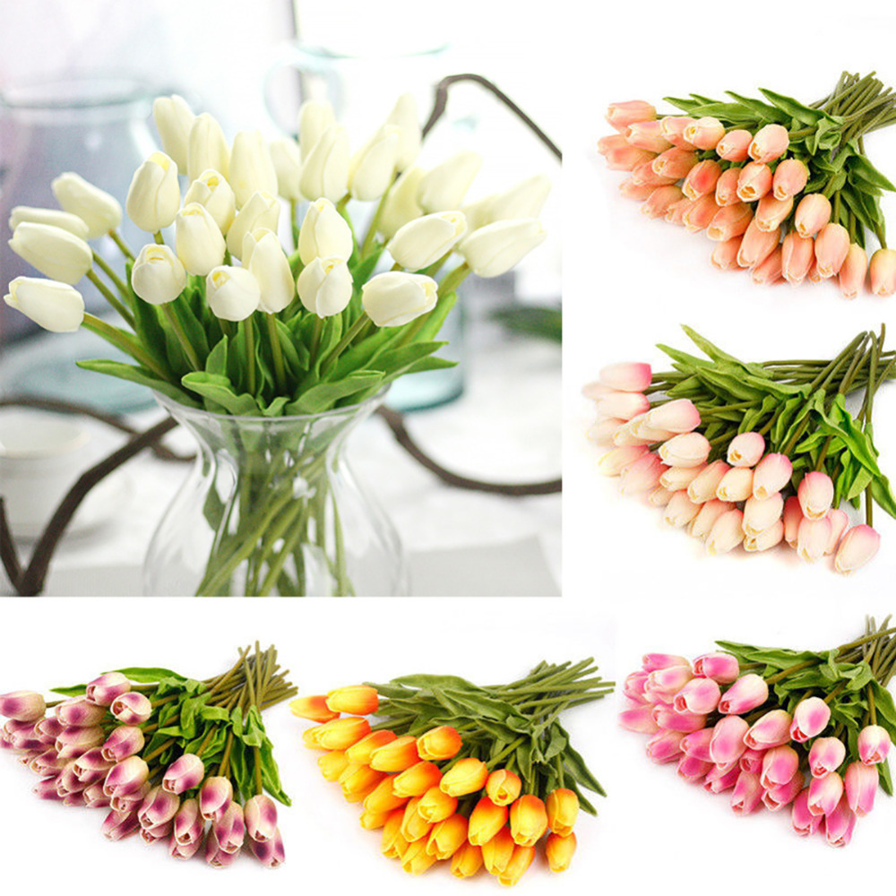 10Pcs Tulip Artificial Flowers Bouquet Cheap Fake Flowers For Home Wedding Decoration Indoor Cheap Flower Festival Supplies in Artificial Dried Flowers from Home Garden