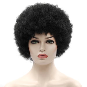 Image 3 - Afro Wig Mens Curly Hair Brown Synthetic Retro Wigs For Women Fluffy Wigs For Women Black Hair