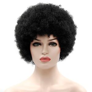 Image 3 - Perruque Afro synthétique bouclée brune et rétro pour hommes et femmes, postiches à peluches noires pour femmes