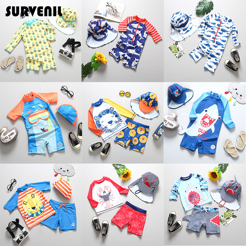 Swimsuit Boy UPF50+ Kids Swimwear for Boys Children's Bathing Suit with Long Sleeves Shark Print UV Protection Baby Swimsuits