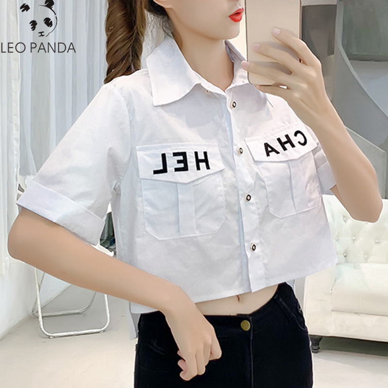 2020 Summer New Pocket Women Tops Shirts Brief Loose Korean Camis Single Breasted Short Sleeve Fashion Letter Casual Shirt|Blouses & Shirts| - AliExpress