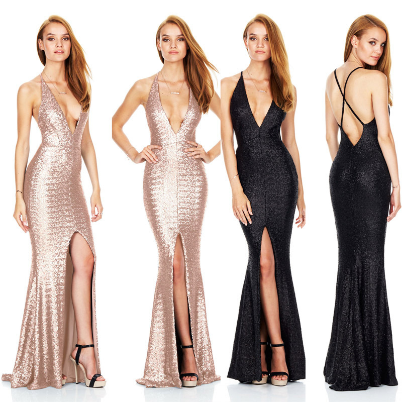 2019 Europe And America Late Formal Dress Slit Backless Camisole Sexy Nightclub Sequin Formal Dress Deep V Sequin Long Dress