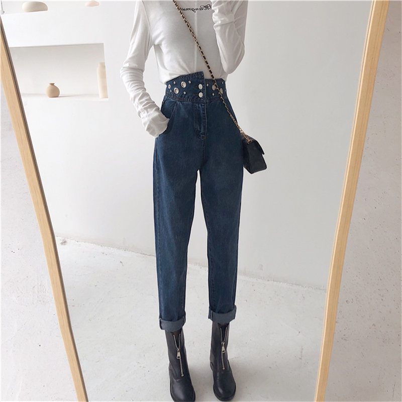 HziriP Fashion Loose Denim Vintage Nail-bead Large Size   Jeans   Stylish High Waist All-Match High Quality Women Harem Trousers